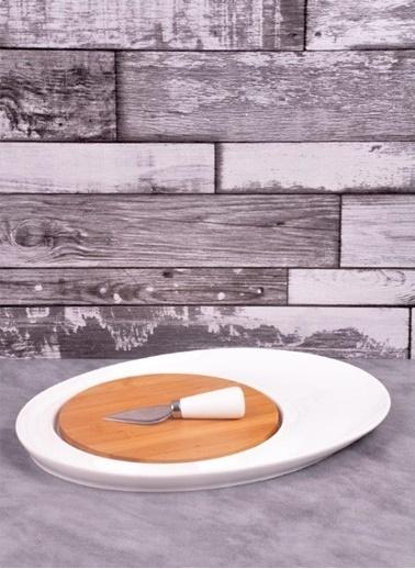 Bayev Bambulu Porselen Oval Bıçak Servis Renkli